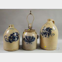 Three Pieces of Cobalt-decorated Stoneware