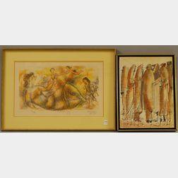 Two Framed Works:      Chaim Gross (Austrian, 1904-1991), Mother's Joy