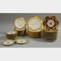Four Sets of English and French Porcelain Soups and Plates