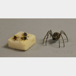Austrian Life-size Cold-painted Bronze Flies on a Marble Sugar Cube Figural Group   and a Spider Figure