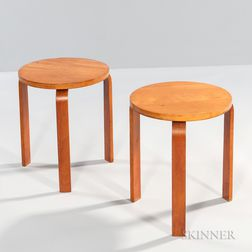 Two Alvar Aalto-style Bentwood Stools