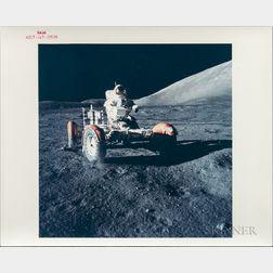 Apollo 17, Eugene Cernan Testing the Unloaded Lunar Roving Vehicle, December 1972.