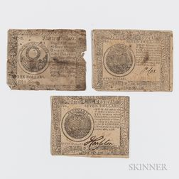 Three September 26, 1778 Continental Currency Notes
