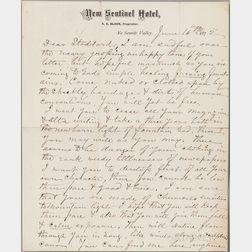 Muir, John (1838-1914) Autograph Letter Signed, 16 June 1872.