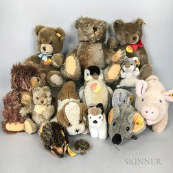 Fourteen Mostly Steiff Teddy Bears and Stuffed Animals.     Estimate $200-300