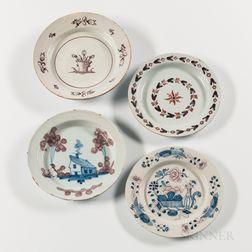 Four Tin-glazed Earthenware Plates