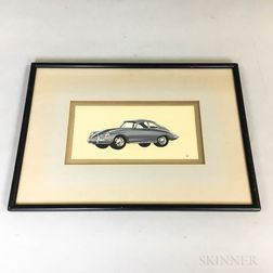 Drawing of a 1960s Porsche 911