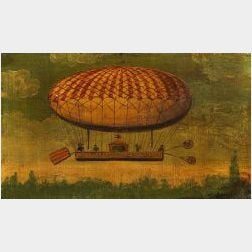 French School  Ascension of the Balloon of the Duc de Chartes