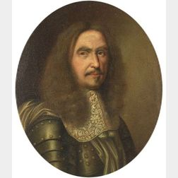 Continental School, 17th Century Style    Portrait of a Gentleman in Armor.