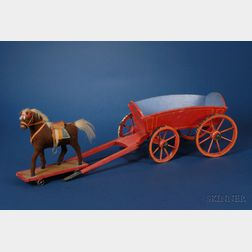 Pony Pull-Toy and Two Painted Wood Wagons
