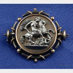 Antique Etruscan Revival Gilt Silver Brooch