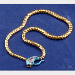 Victorian Enamel and Gem-set Snake Necklace