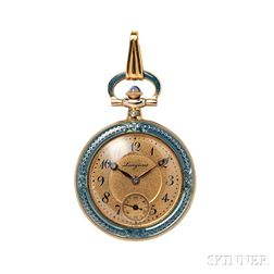 Edwardian 14kt Gold and Enamel Pendant Watch, Longines