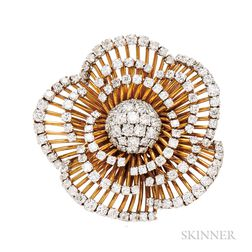"18kt Gold and Platinum and Diamond ""Camellia"" Clip Brooch, Van Cleef & Arpels"