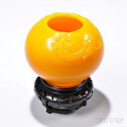 Yellow Peking Glass Alms Bowl