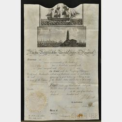 Jefferson, Thomas (1743-1826) Ship's Passport, Signed, February 1805, Countersigned by James Madison (1751-1836).