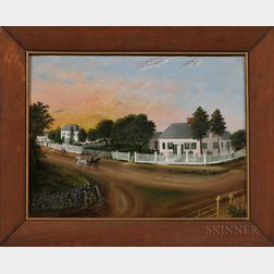 American School, 19th Century      Street Scene with White Houses and White Picket Fences