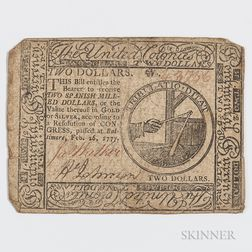 February 26, 1777 $2 Continental Currency Note