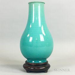 Turquoise Blue-glazed Awaji Vase