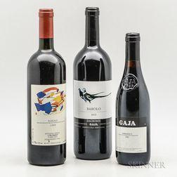 Gaja, 2 bottles 1 demi bottle