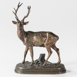 Alfred Dubucand (French, 1828-1894)       Bronze Model of a Stag