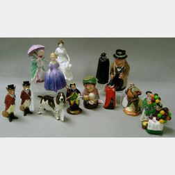Fourteen Assorted Small Royal Doulton Porcelain Figures and Toby Jugs