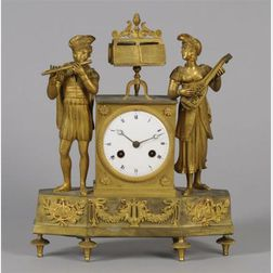 French Neoclassical Gilt Mantel Clock