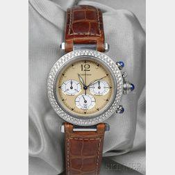 "Stainless Steel and Diamond ""Pasha"" Chronograph Wristwatch, Cartier"
