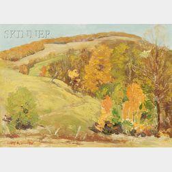 Anders Daniel Johansen (Danish, 1882-1967)      Autumn Trees Nestled within the Hills