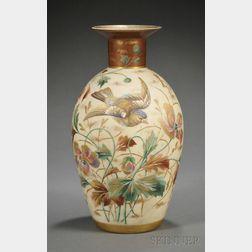 Hand-painted Bristol-type Glass Vase