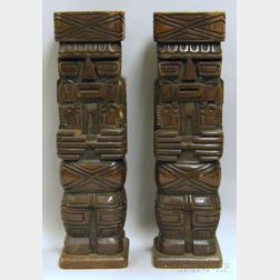 Pair of Modern Carved Wood Totem-style Table Lamp Bases