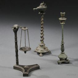 Three Grand Tour Roman-style Bronze Objects on Stands