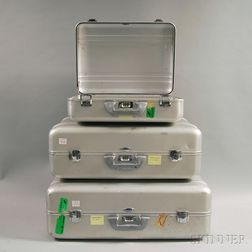 Three Pieces of Vintage Zero Halliburton Aluminum Luggage