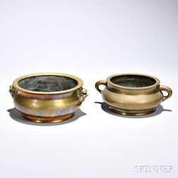 Two Bronze Incense Burners