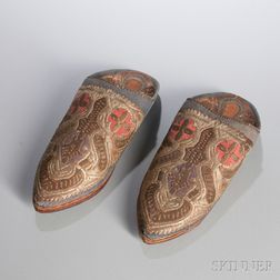 Pair of Embroidered Leather Shoes