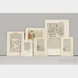 Leaves of Early Printed Books and Books of Hours.