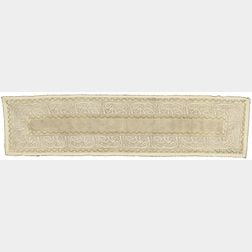 Ottoman Turkish Silk Embroidered Table Runner with Silver and Gilt Thread