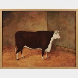 Anglo/American School, Mid-19th Century      Portrait of a Brown and White Bull in a Stall