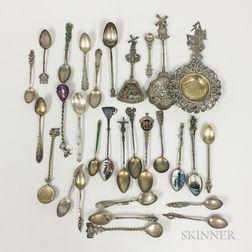 Group of Souvenir Spoons, a Tea Strainer, and a Bonbon Spoon