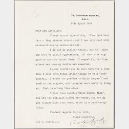 Bennett, Arnold (1867-1931) Typed Letter Signed, 14 April 1926.