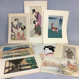 Approximately Fifteen Japanese Woodblock Prints and Watercolors