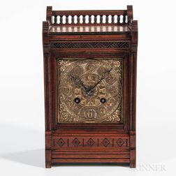 Miniature Art Nouveau Walnut Mantel Clock