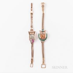 Two Paul Ditisheim Rose Gold Gem-set Cocktail Wristwatches