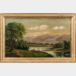 American School, 19th Century      New England Landscape with Lake and Mountains