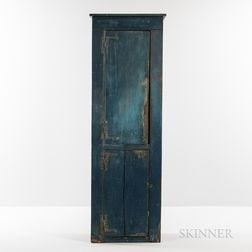 Small Blue-painted Pine Chimney Cupboard