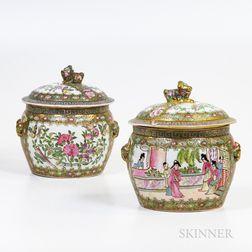 Pair of Rose Medallion Covered Jars