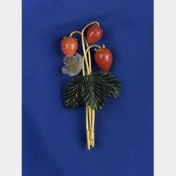 Coral, Nephrite Jade, and Crystal Strawberry Pin