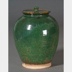 Green-glazed Redware Covered Jar