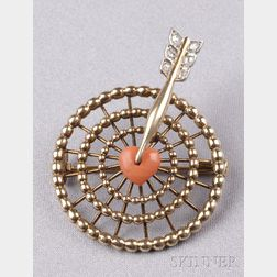 Coral and Diamond Target Brooch, Cartier,