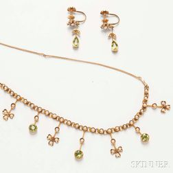 Antique 14kt Gold, Peridot, and Pearl Suite